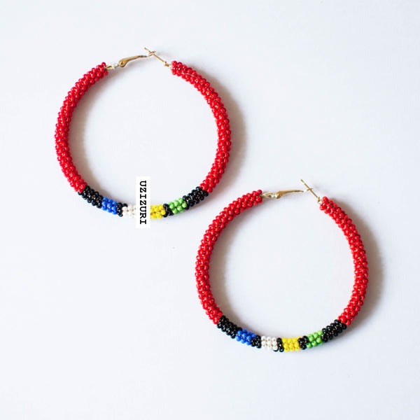 Zora Hoop Earrings - Red