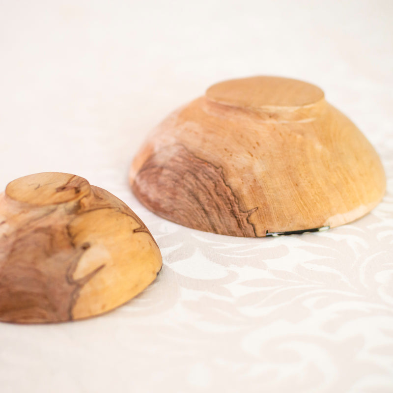 Olive Wood Bowl Duo