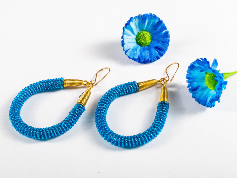 Jamila Hoop Earrings - Azure Blue