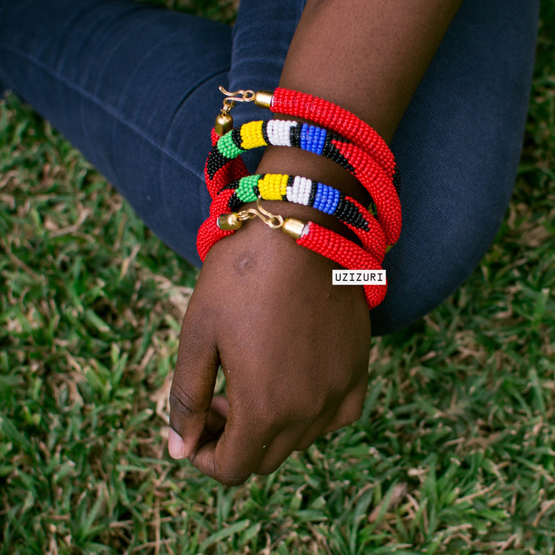 Raha Bracelet Set - Red