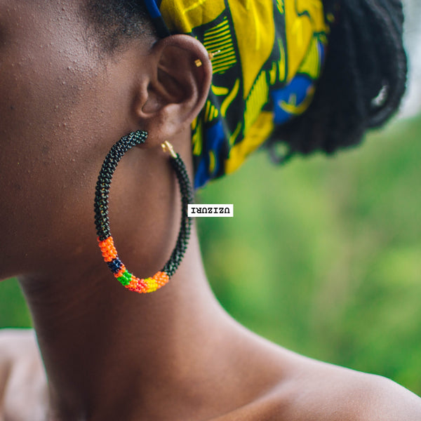 Zora Hoop Earrings - Black