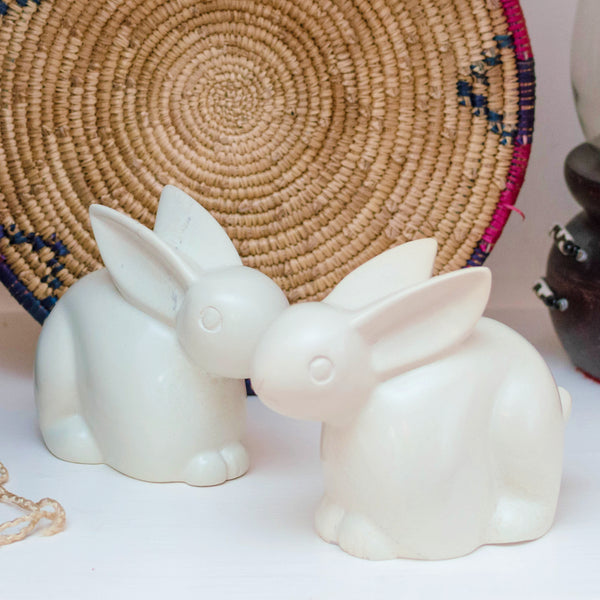 Set of Two Soapstone Rabbits