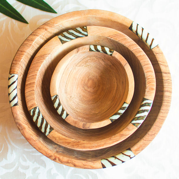 Olive Wood Round Serving Bowl Set