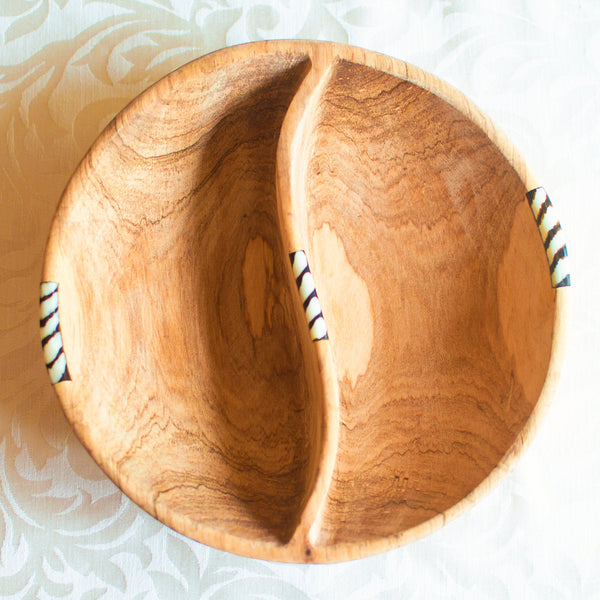 Olive Wood Divided Serving Bowl