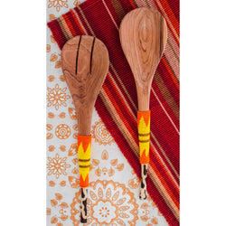 Olive Wood Serving Set - Orange & Yellow