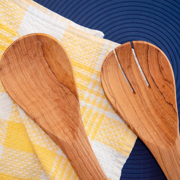 Brass Embellished Olive Wood Serving Set