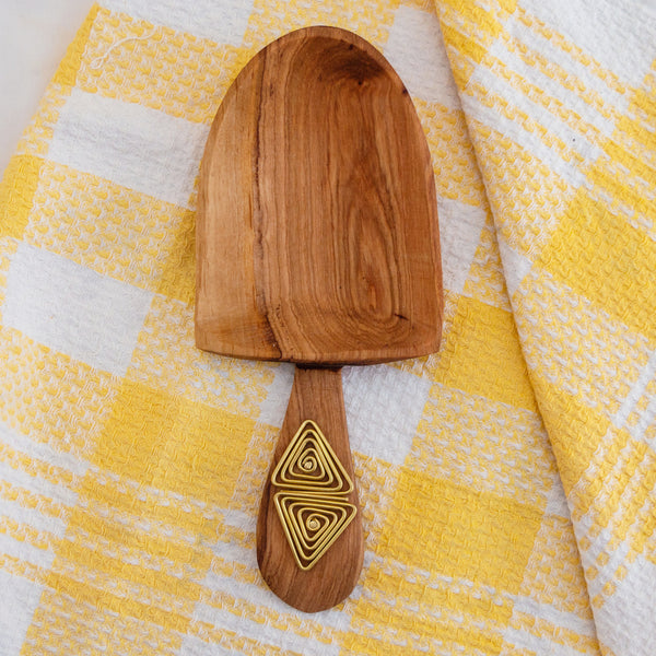 Brass Embellished Olive Wood Scooper