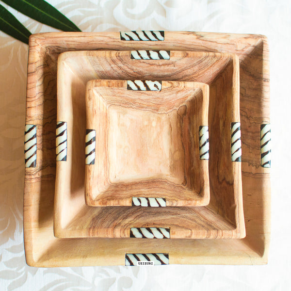 Olive Wood Square Serving Bowl Set