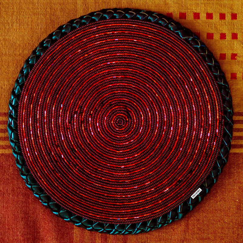 Beaded Table Placemat - Red