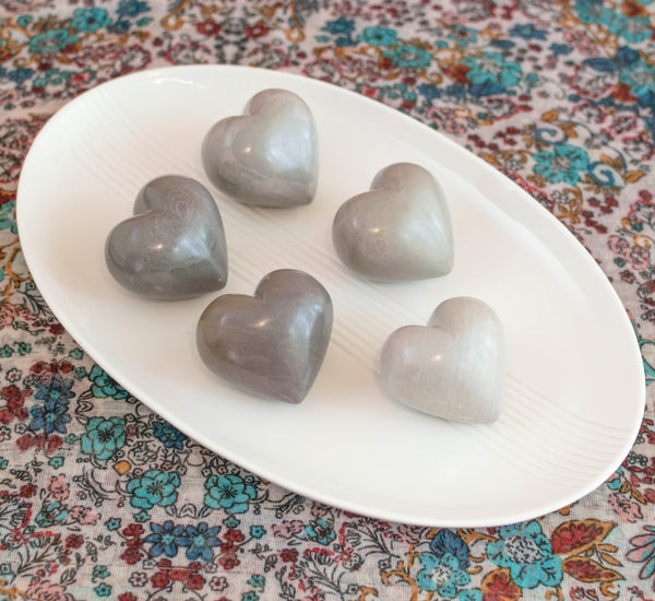 Set of Five Soapstone Hearts with Display Bowl