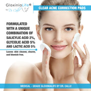 GloxiniaLife ® by Dr. Calle ® Clear Acne Correction Pads- Acne Treatment for Facial Oily Skin-Acne Solutions-Gloxinialife