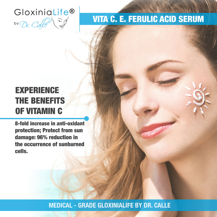GloxiniaLife by Dr. Calle Vita C E Ferulic Acid- Vitamin C & E with Hyaluronic Acid Serum-Skin Lightener-Gloxinialife