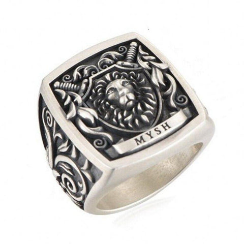 Bague Tete de Lion Blason Royal