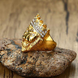 bague tete de lion plaque or