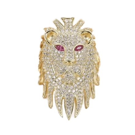 Bague tete de lion or et diamant