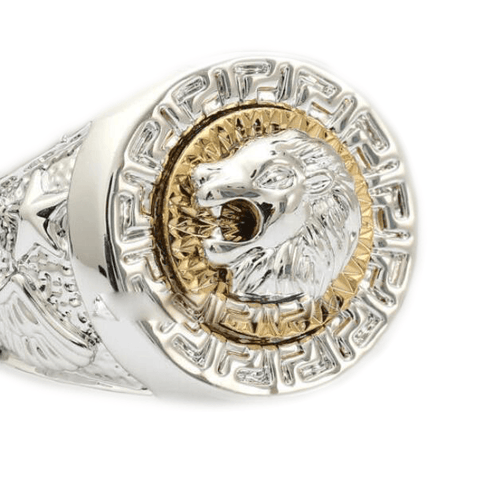 bague tete de lion or blanc