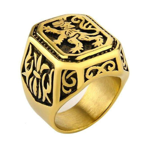 bague tete de lion or