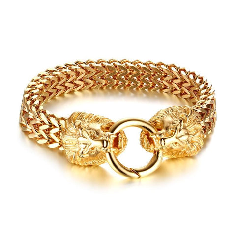 bracelet tete de lion or