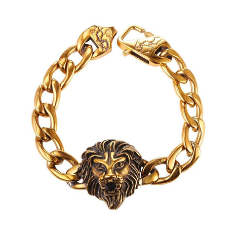 Bracelet Lion Chaine Doree