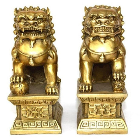 Statues Lions Gardiens Imperiaux Chinois