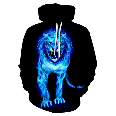 Sweat Lion Flamme Bleu