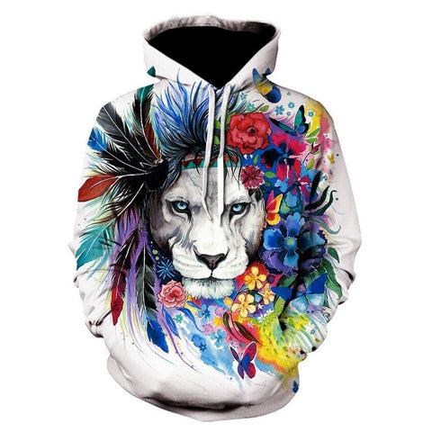 Sweat Lion Plume Colorée