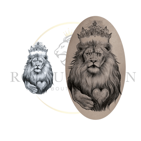 Tatouage Temporaire Lion Amour Royal