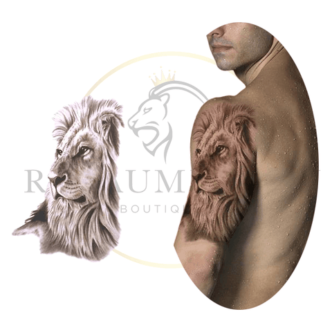 tatouage ephemere tete de lion
