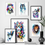 Toiles Lion et loup multicolores