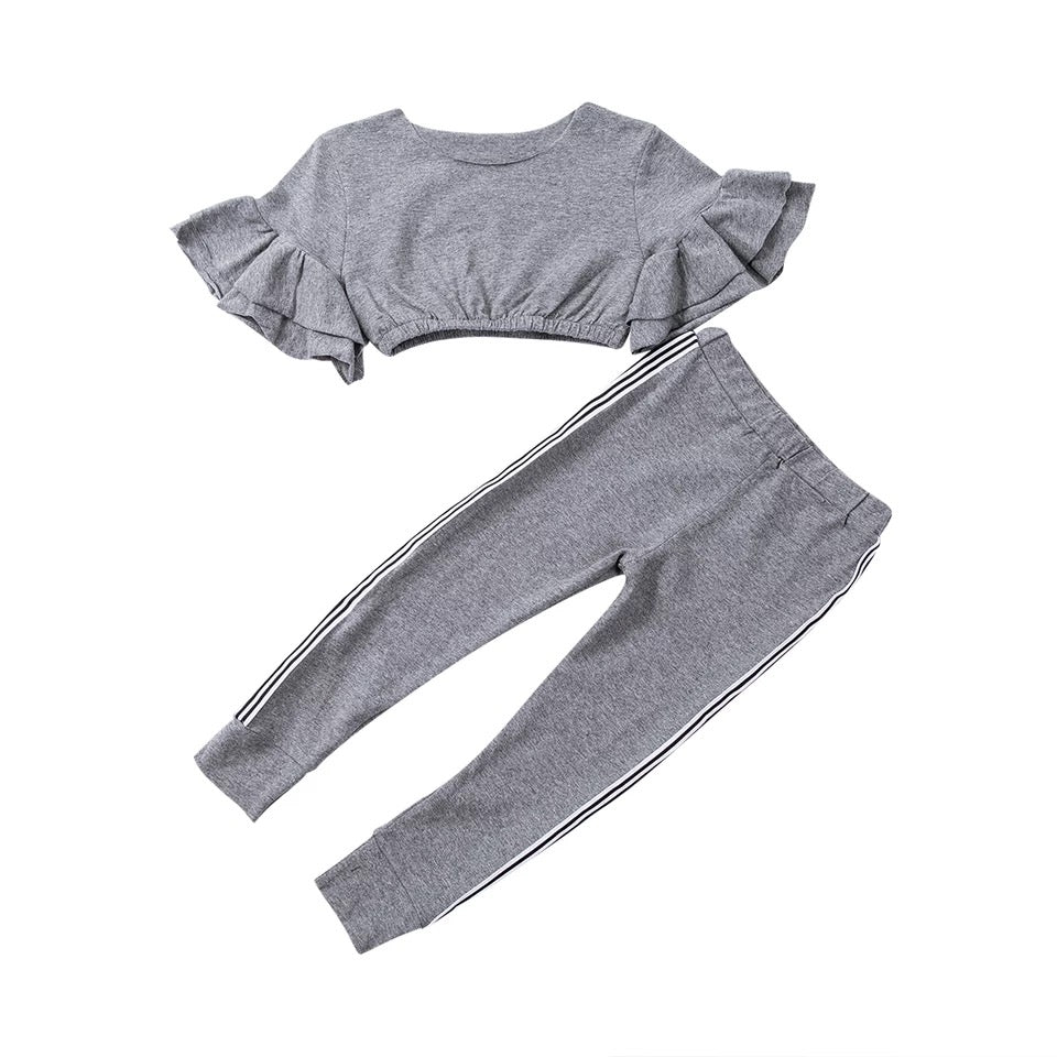 Girls Frill Arm Lounge Suit Grey