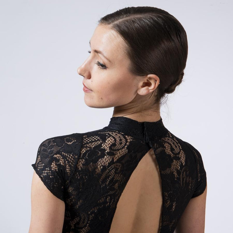 Lace Oval Back Leo Child  BLACK