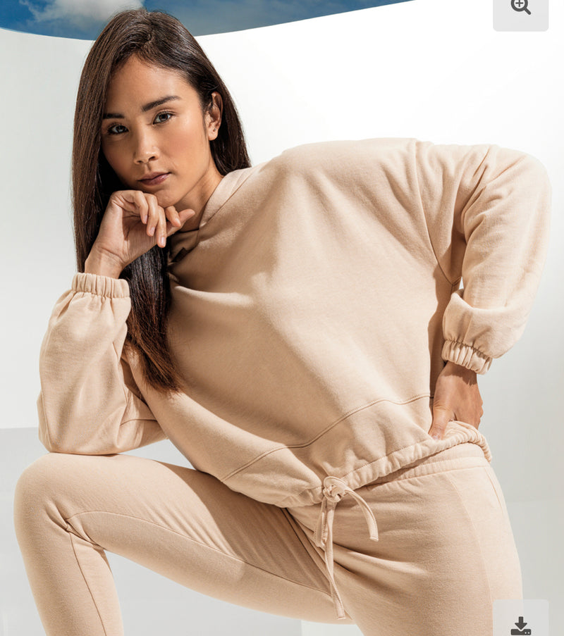 Oversized Cropped Hoodie Nude
