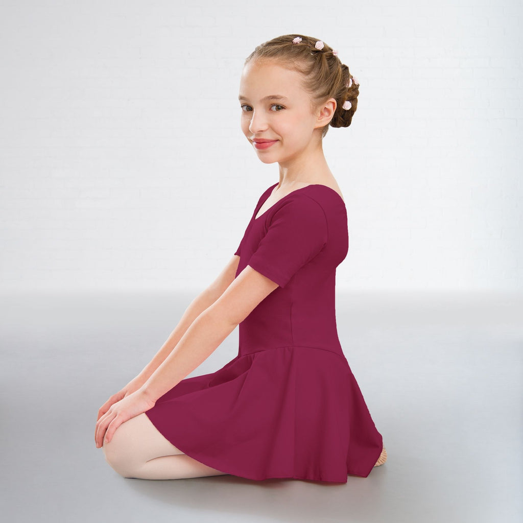 Hannah Cotton Skirted Leotard BURGUNDY