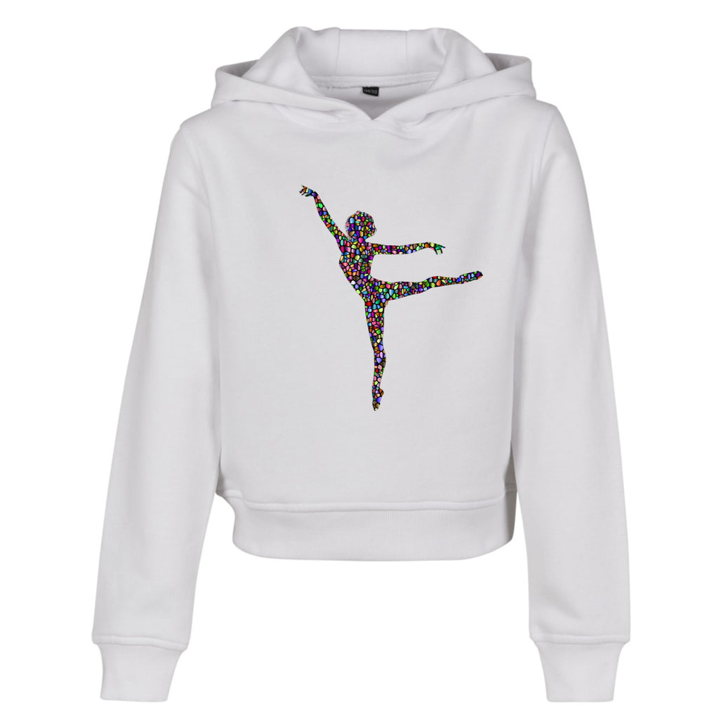 Mosaic Cropped Hoodie White