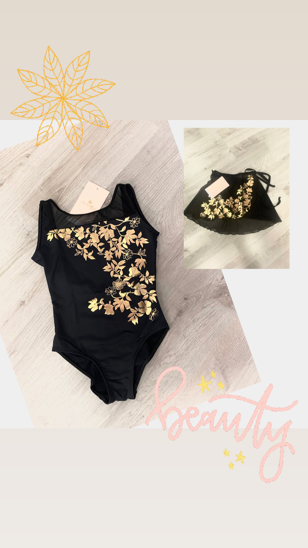 Adele Leotard Black & Gold