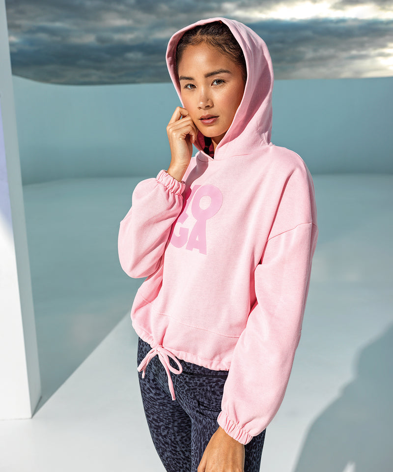 Oversized Cropped Hoodie Pink