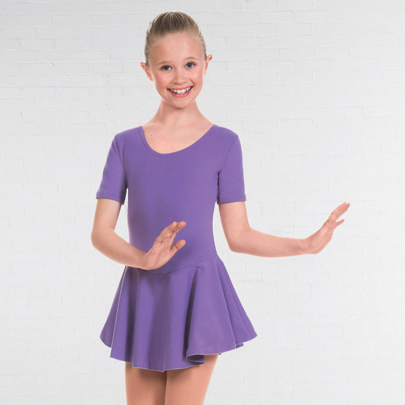 Short Sleeve Skirted Leotard Lavender