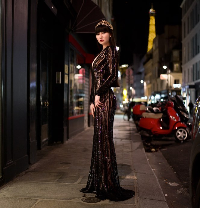 Jessica: deep v, long sleeved black sequin haute couture evening gown