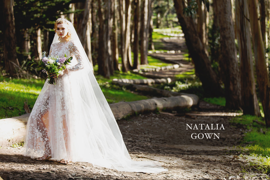 The Natalia Gown: long sleeved haute couture wedding dress of Italian floral embroidered tulle and blush silk, handmade in San Francisco.