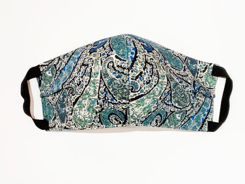 Premium Blue Paisley Liberty Cotton Mask