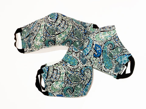 Deluxe Blue Paisley Liberty Cotton Mask