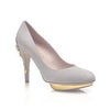 Bridgette Grey Suede Pumps with Gold Metal Cherry Blossom heel detail
