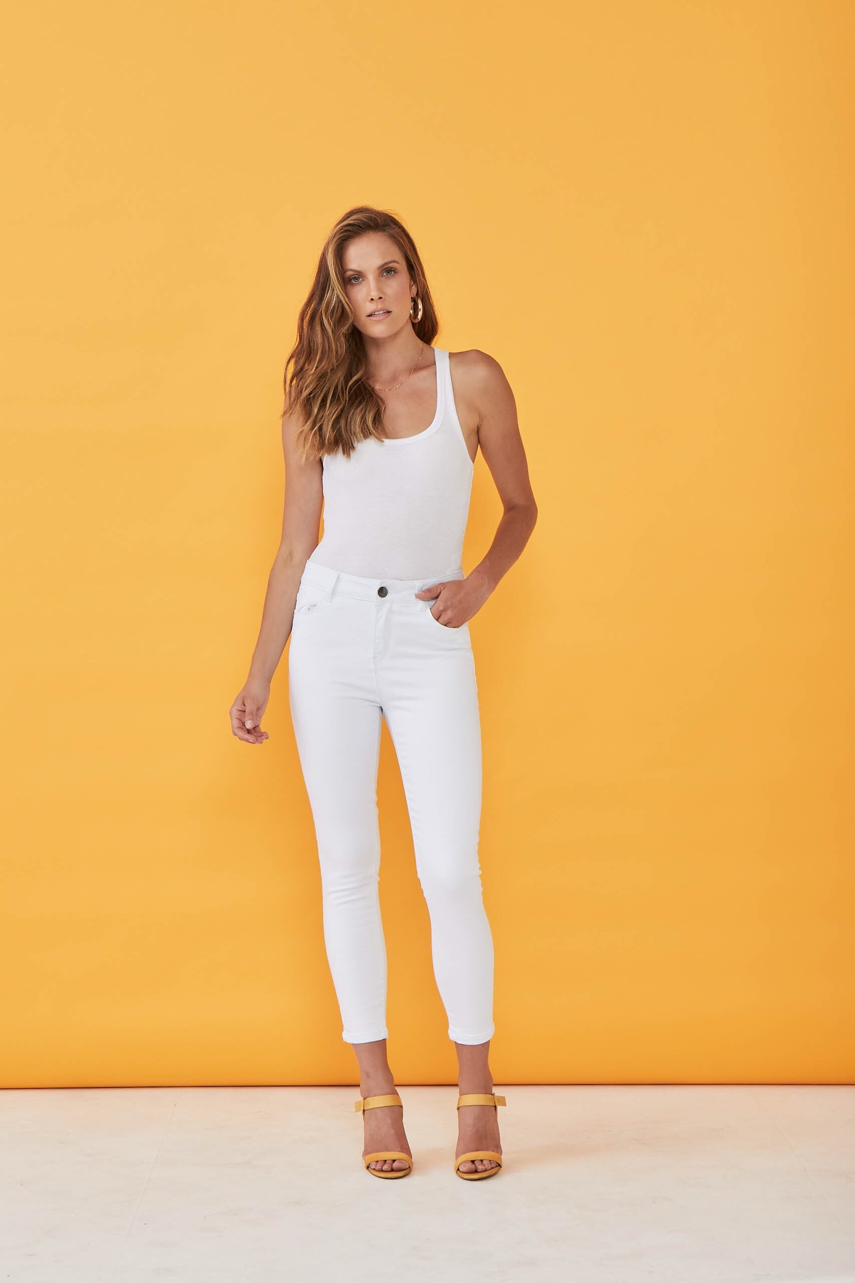 New London Chelsea White Cropped Jean