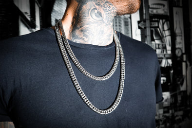 Fishbone Cuban Double Chain Set