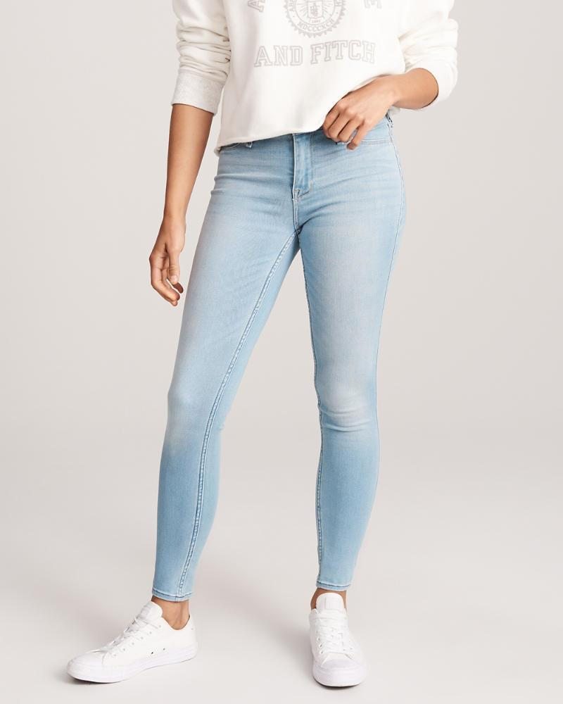 Abercrombie & Fitch Womens Low Rise Jean Leggings in Light Wash