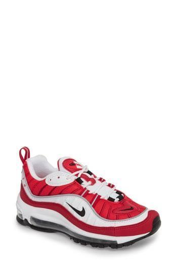 Womens W Air Max 98 White/Black-Red Leather