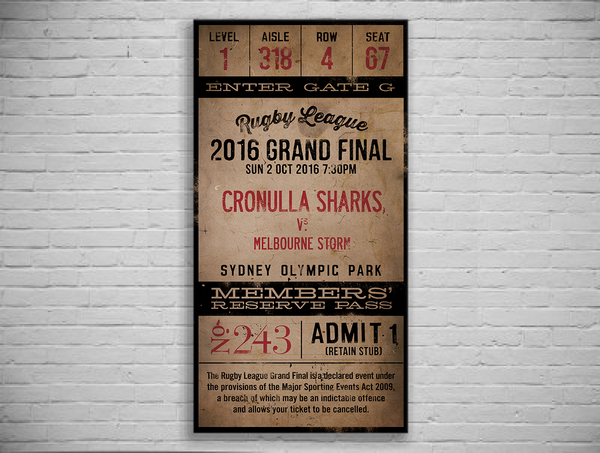 Cronulla Sharks 2016 Grand Final Ticket Canvas Print