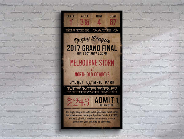 Melbourne Storm 2017 Grand Final Ticket Canvas Print