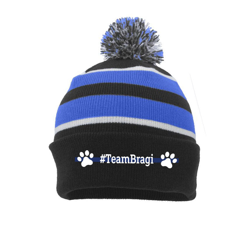 K9 Bragi WPD - Pacific Headwear Knit Fold Over Pom-Pom Beanie