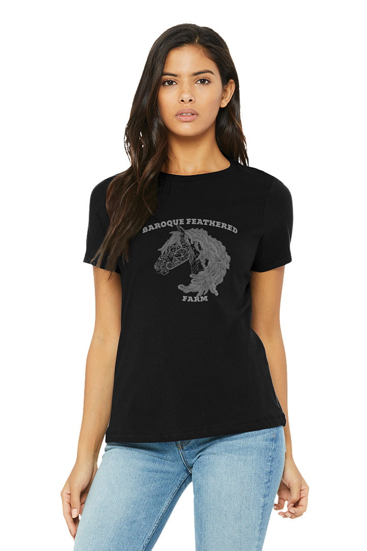 Black Baroque Feathered Farm - BELLA+CANVAS ® Women's Relaxed Jersey Short Sleeve Tee